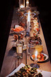 Dinner on wood table