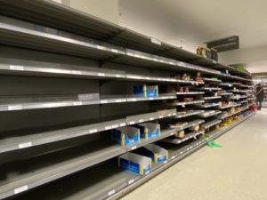 Empty shelf of store